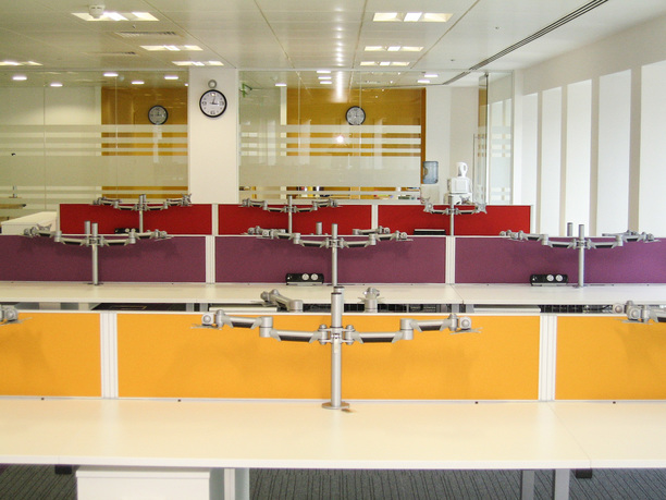 Bench desks with screens & monitor arms