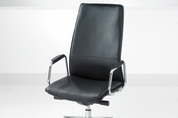 High back conference chair in leather finish