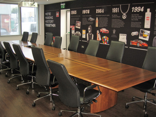 Autoglym conference room with table and wall mural of company history
