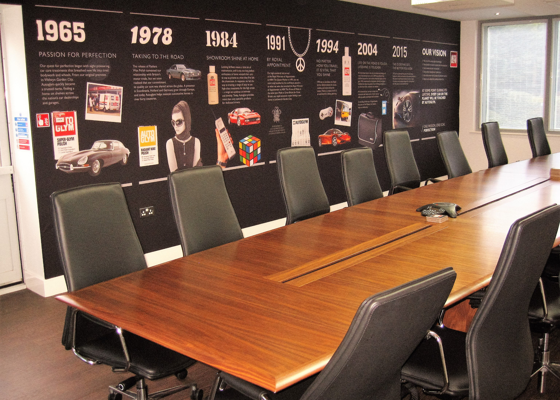 Autoglym conference room with wall mural