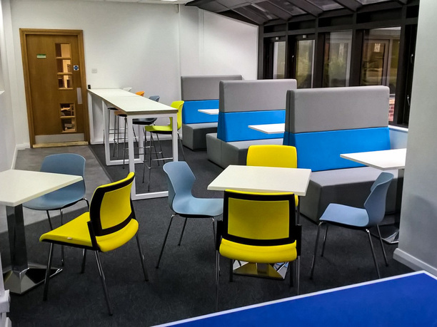 Three Rivers District Council breakout area with low, high and dinner style seating