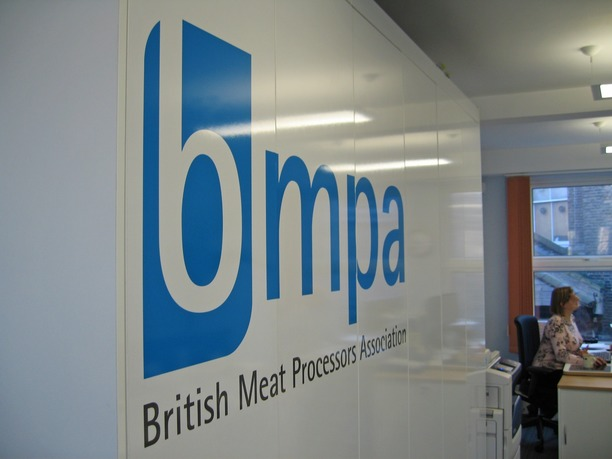 BMPA logo on floor to ceiling cupboards