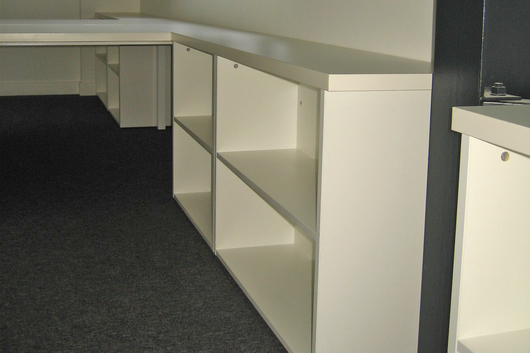 Open fronted storage desk height
