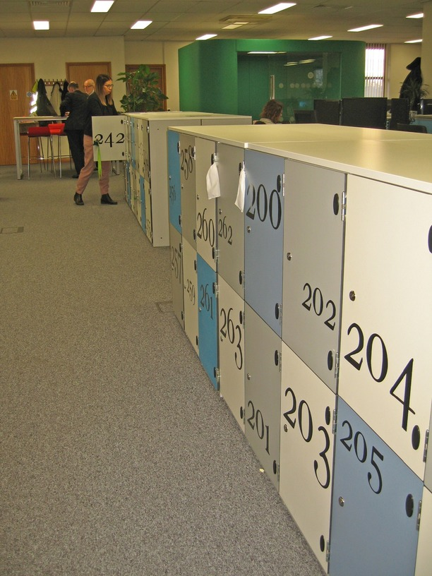 Mid height lockers numbers with coloured doors