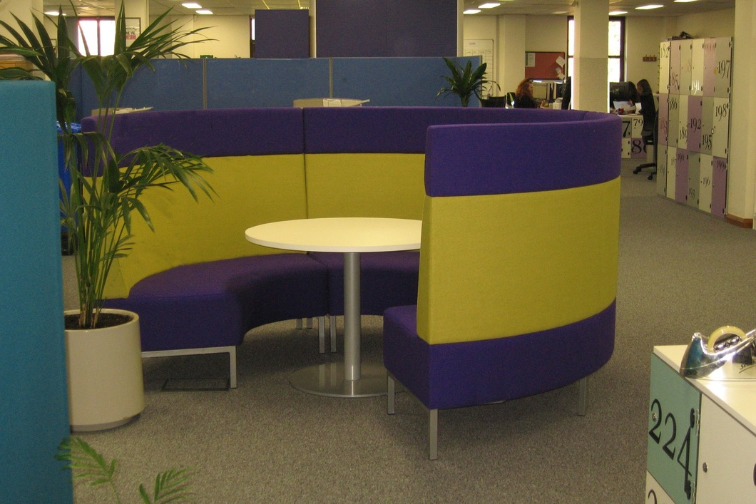 Circular meeting area with table