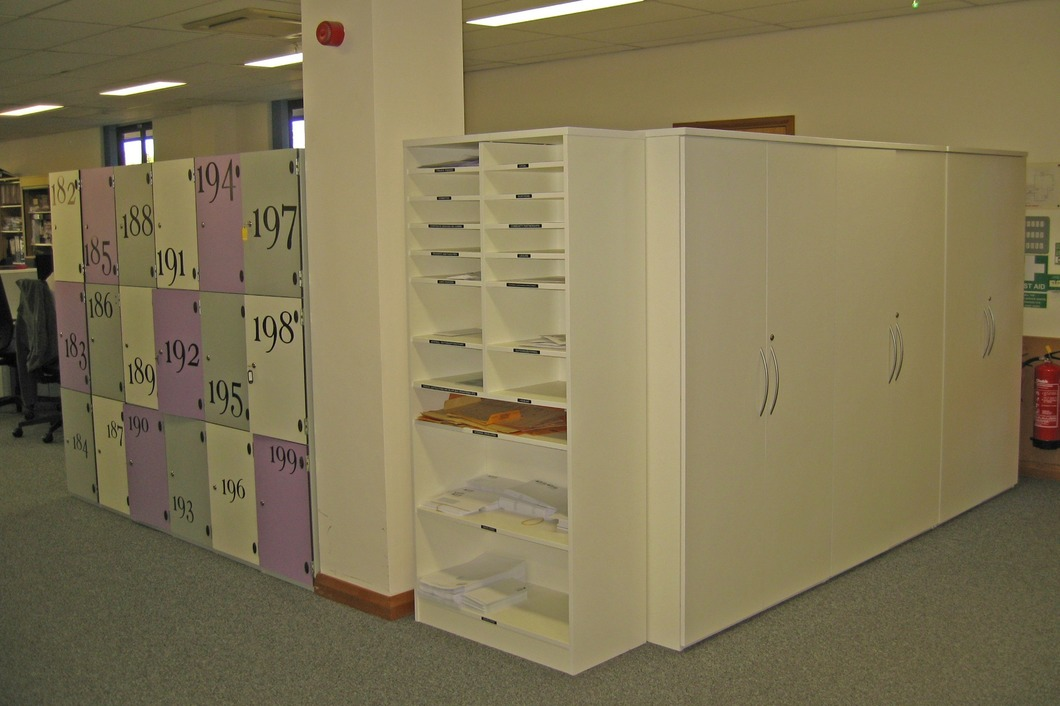 Tall lockers post area and cloak cupboards