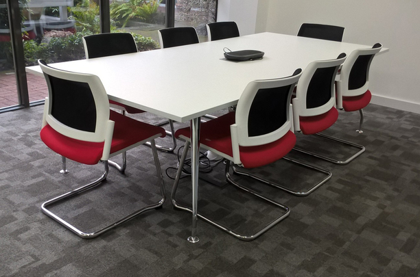 White meeting table with Kind mesh back cantilever chairs