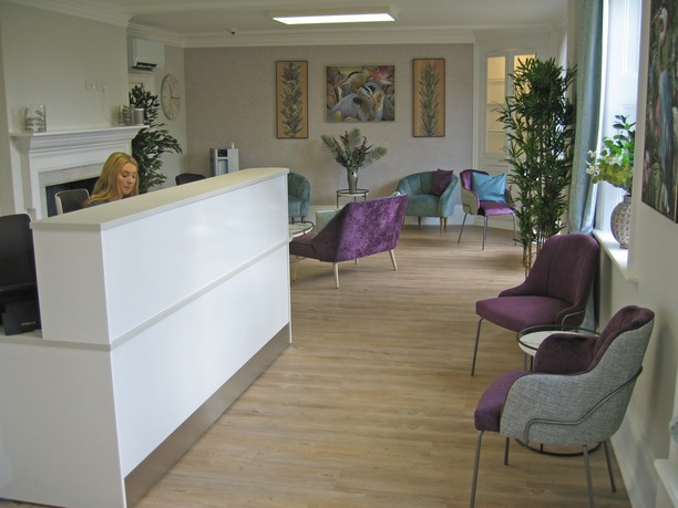 Dr Now reception counter and soft seating