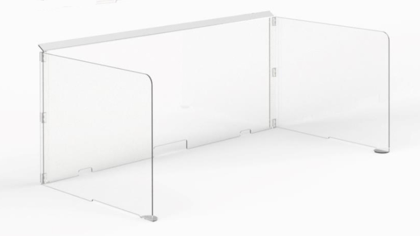 Clear acrylic screen that sits on the desk by Frem