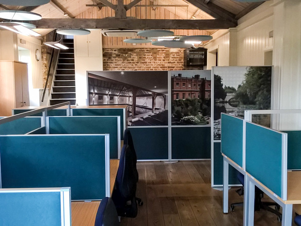 Grove Hotel sales office with acoustic floor and desk screens with ceiling rafts