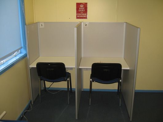 Pair of study booths with chairs