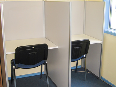 pair of study booths