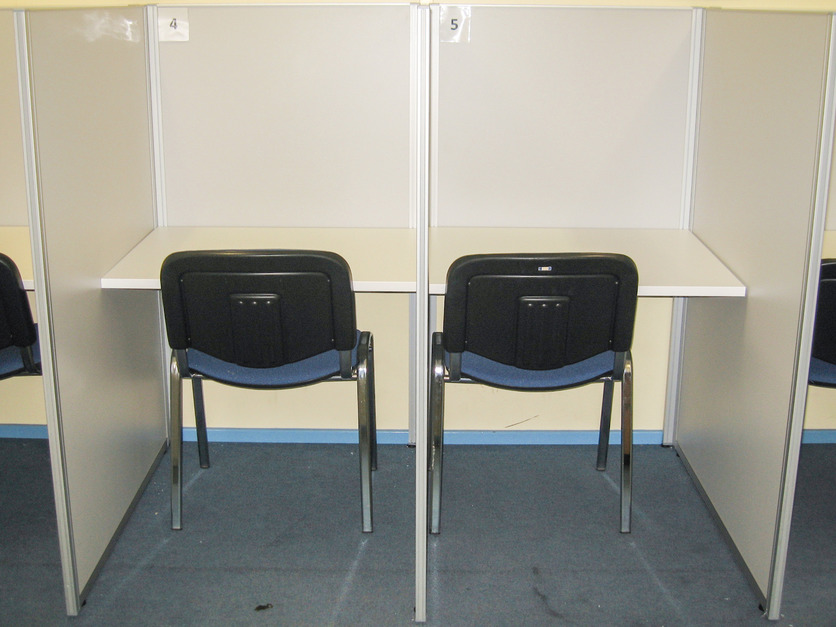 Student study booths with chair