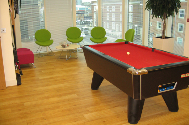 Pool table and break out space