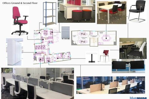 Mood board showing preposed office furniture