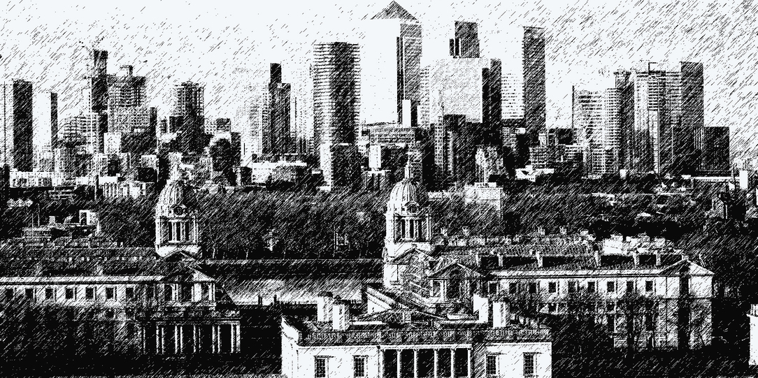 Graphic drawing of Canada wharf from Greenwich Park