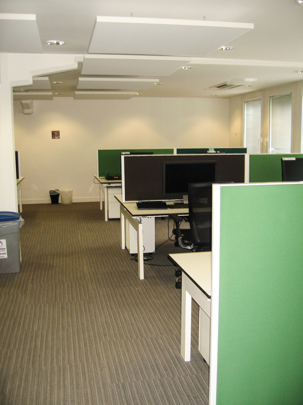 Main office area with acoustic desk screens and ceiling panels